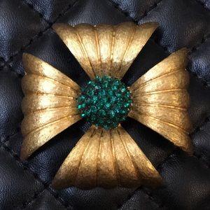 Vintage Art Deco Rhinestone Flower Brooch Pendent